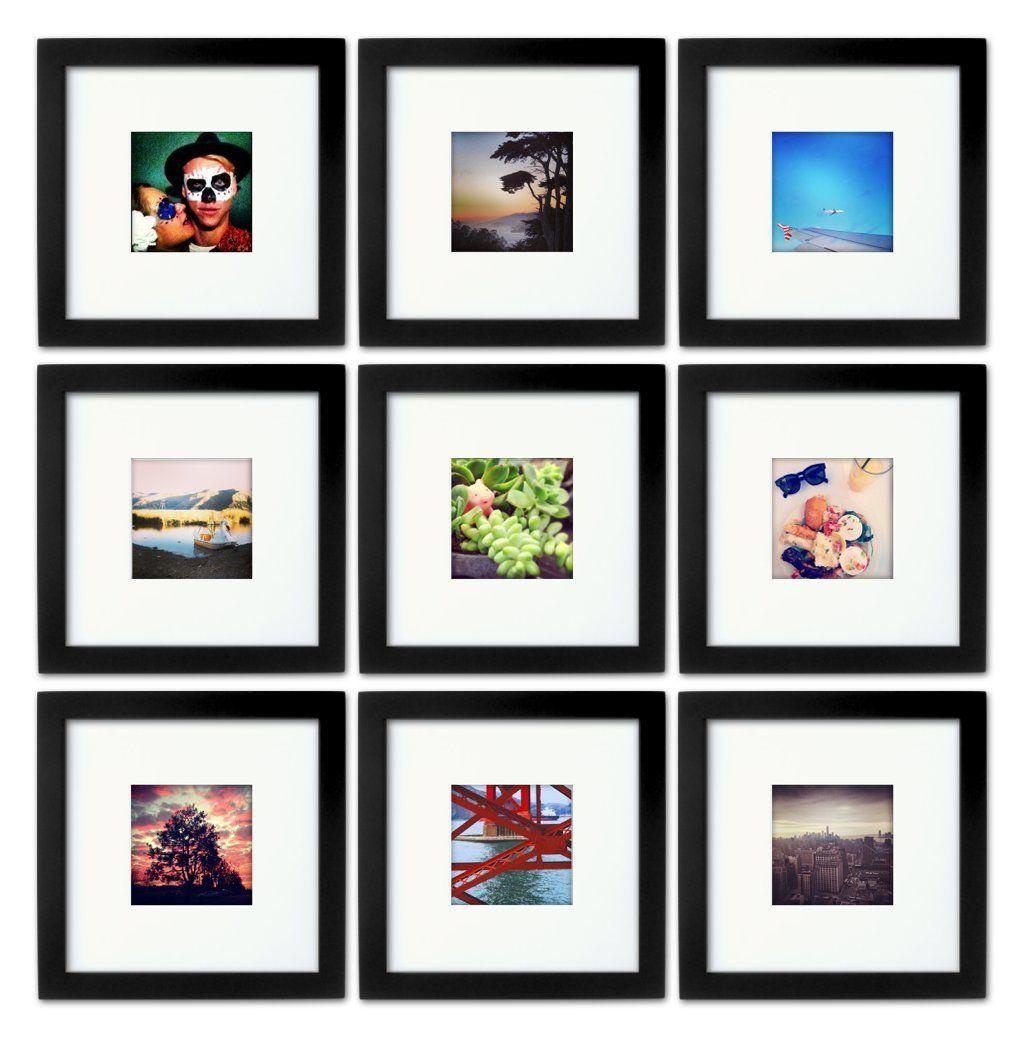 Amazon.com - Natural Wood Square Photo Frame, 4x4 (Mat), 8x8 (9 ...