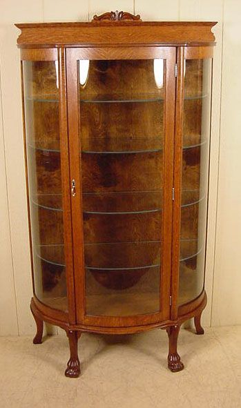 Image Detail For  Small Oak Claw Foot Curio Cabinet