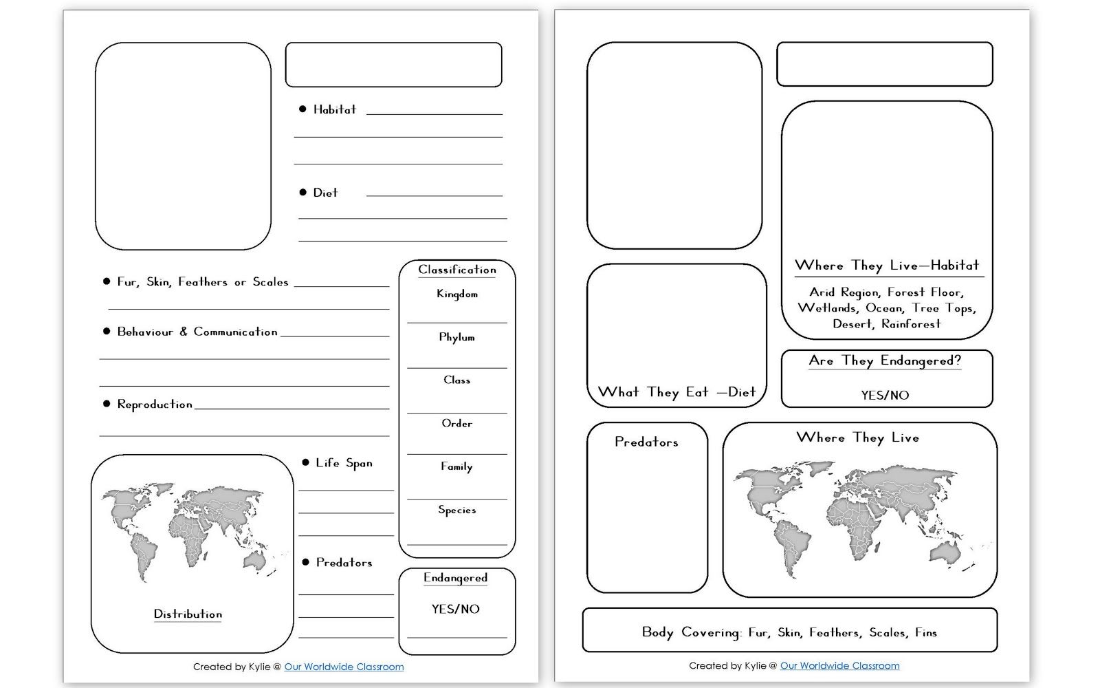 Printable Animal Notebooking Pages