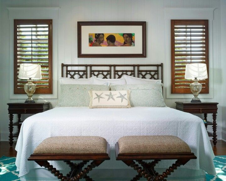 tropical bedroom use shutters to create the look for the home