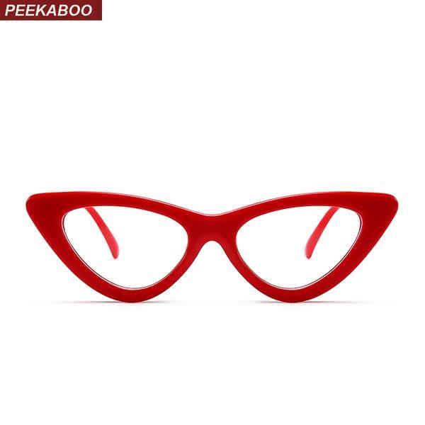 Peekaboo Sexy red cat eye glasses frames for women 2018 retro white ...