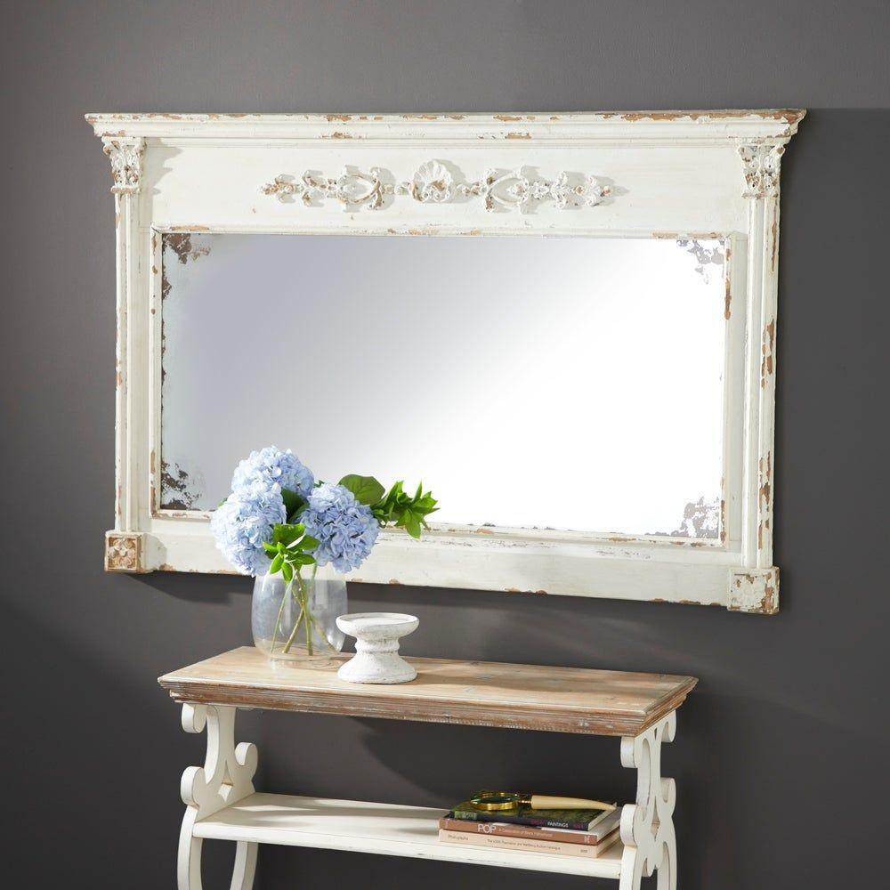 Farmhouse 36 Inch Rectangular Wooden Framed Wall Mirror by