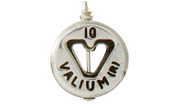"""""""bad habit"""" necklaces - Valium pendant anyone? Xanax? Vicodin?"""