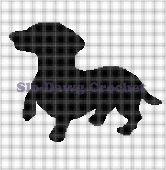 Dachsund Silhouette crochet graph pattern by SloDawgCrochet, $5.00 ...