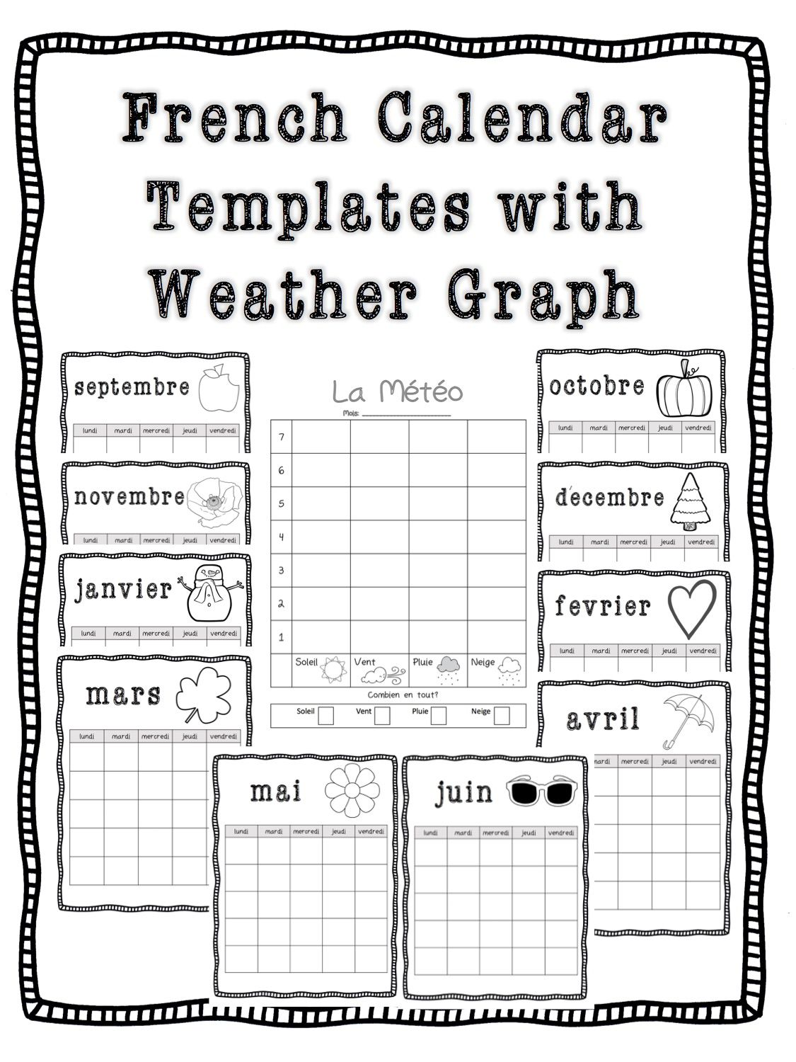 Calendar Template And Weather Graph French  Weather Graph