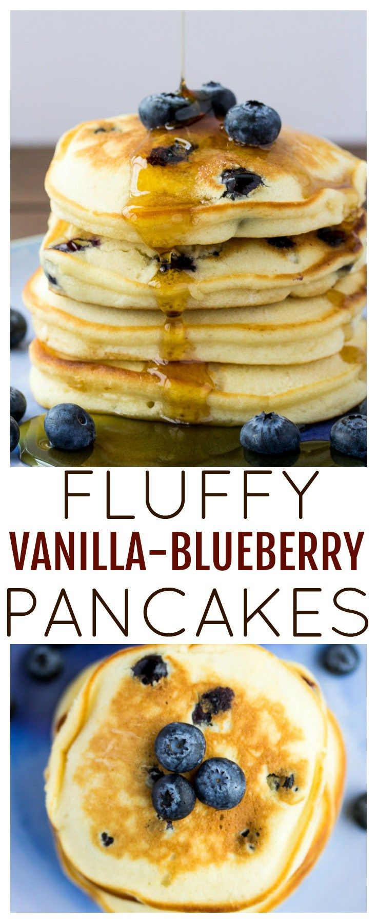 A Fluffy Blueberry Pancakes recipe that is the perfect easy breakfast recipe! These are also great for brunch! | brunch recipe | #dlbrecipes #pancakesrecipe #blueberrypancakes #fluffypancakes #breakfast #breakfastrecipe