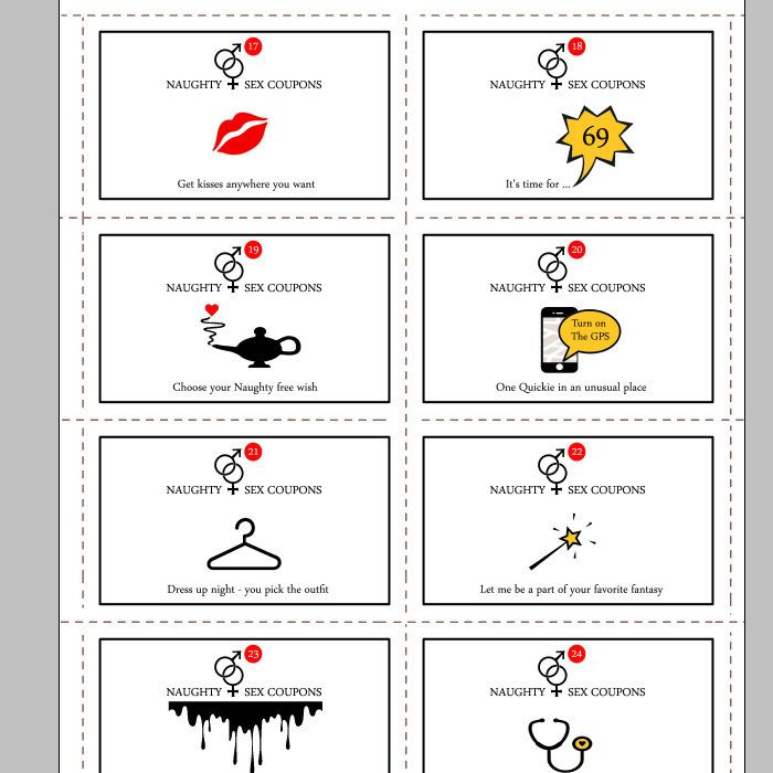 Printable Naughty,Sex Coupons, Instant Download, 24 Naughty Cards ...