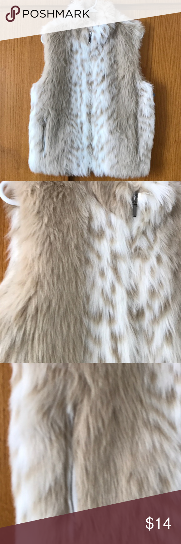 Reversible White Faux Tan Fur Vest Medium Reversible Faux Cream White Fur Vest Opposite Side Is A Thick White Soft Vinyl Ty In 2020 Tan Fur Vest Faux Tan Fur Vest