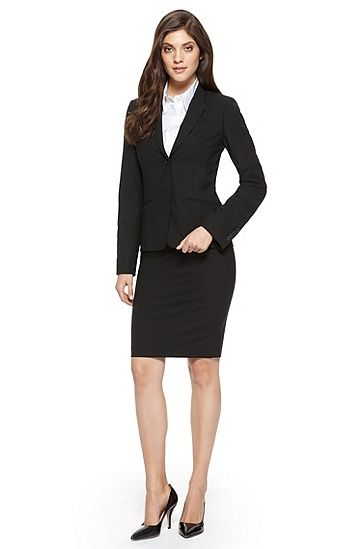 BOSS Stretch-Wool Black Skirt Suit ~ business essential   Fashion ...