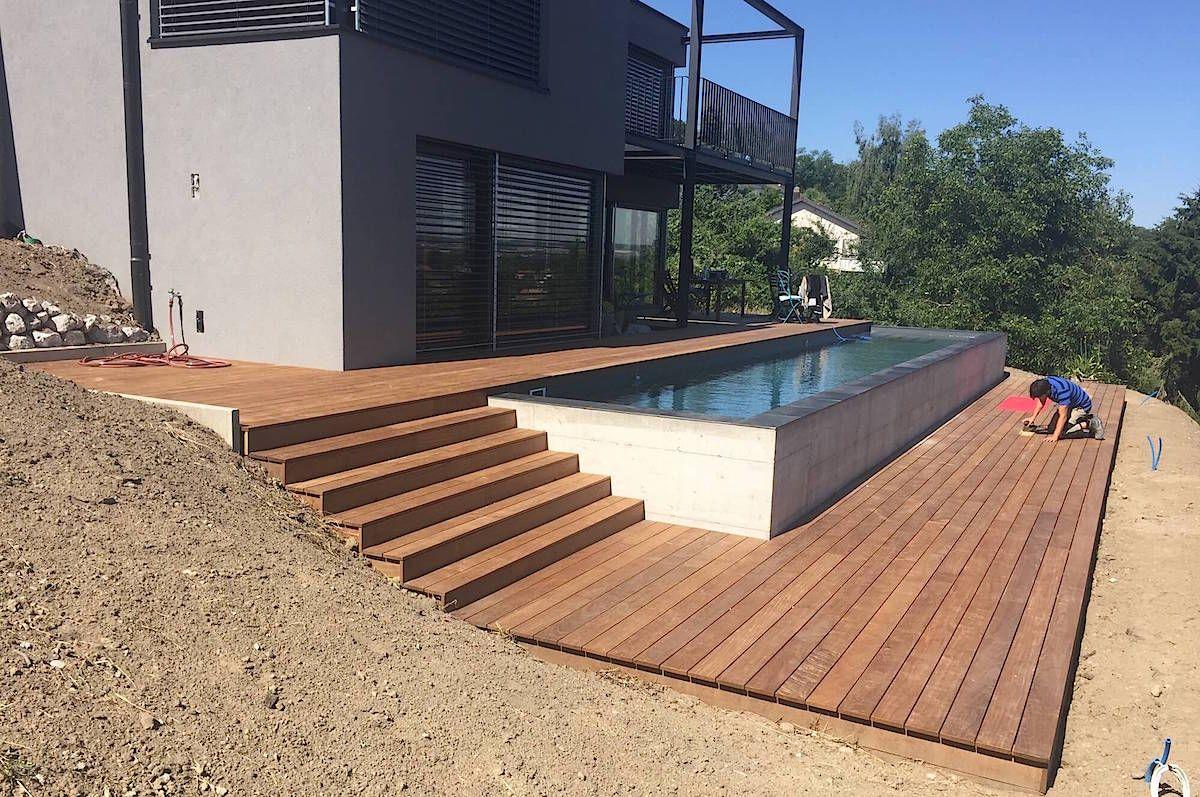 terrasse en bois ip et entourage piscine avec escalier. Black Bedroom Furniture Sets. Home Design Ideas