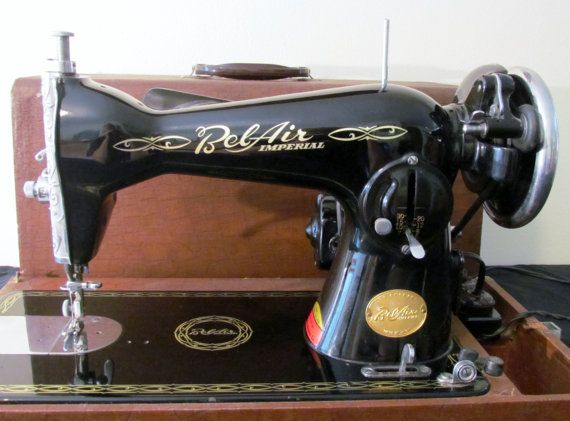 Vintage 40's Japanese Black And Gold Bel Air Imperial Sewing Simple Belair Sewing Machine