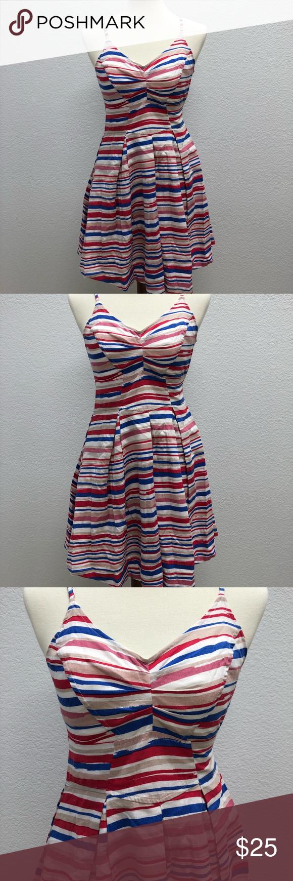 Jack By Bb Dakota Red White Blue Striped Dress Jack By Bb Dakota Womens Small Dress Fit Flare Red White B Small Dress Blue Striped Dress Yellow Striped Dress [ 1740 x 580 Pixel ]