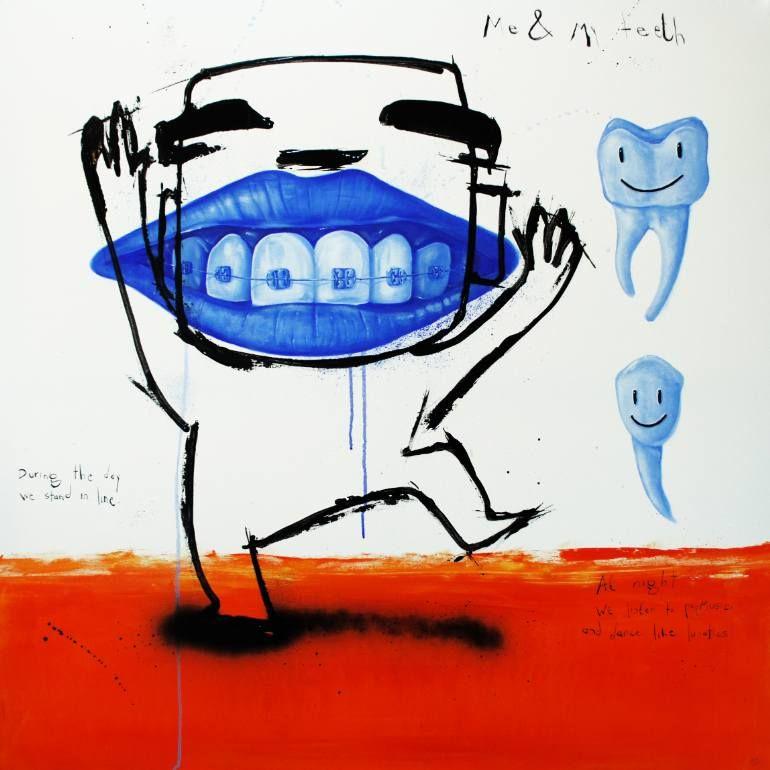 """Saatchi Art Artist Jan-Hein Arens; Painting, """"Me & my teeth"""" #art"""