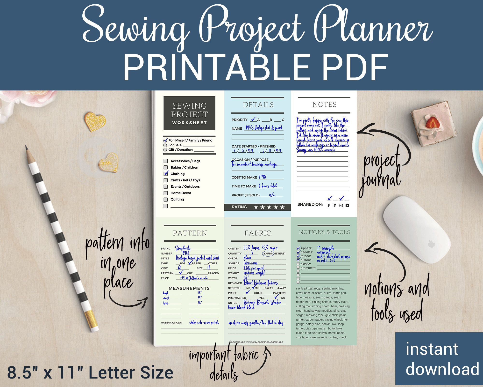 Excited To Share The Latest Addition To My Etsy Shop Printable Sewing Project Planner Journal And Project Planner Project Planner Printable Sewing Projects