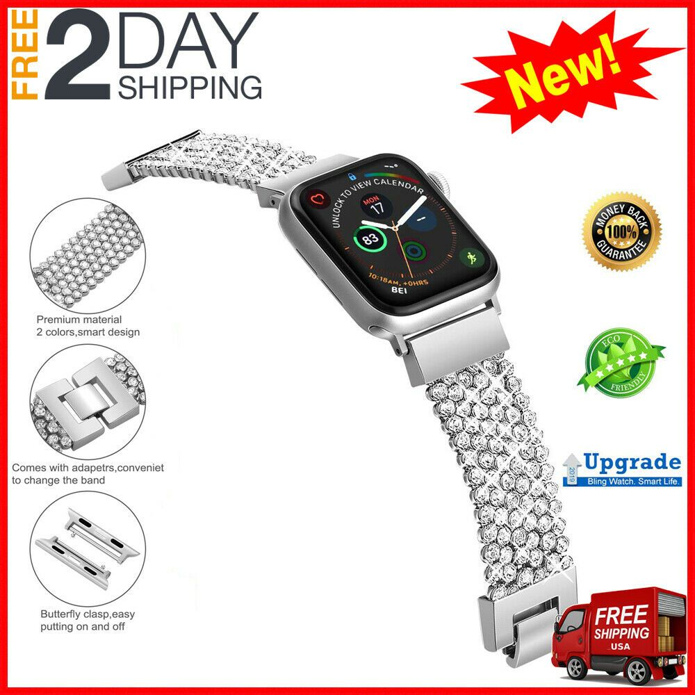 Apple Watch Band Series 4 3 2 1 For Women Silver 38mm 40mm Crystal Stone Chain Ebay Applewatchband Smartwat Apple Watch Apple Watch Bands Smartwatch Women