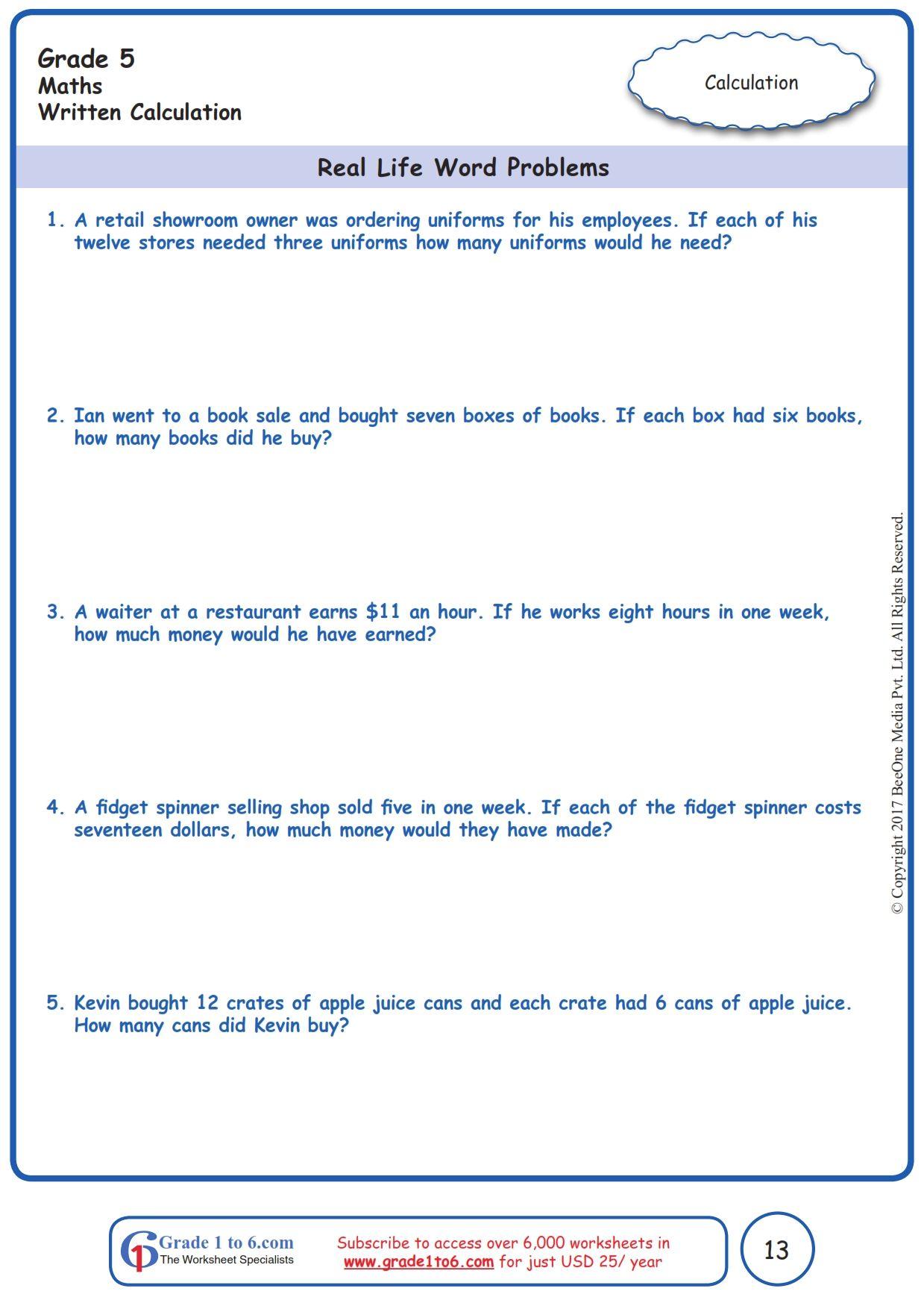 Worksheet Grade 5 Math Real Life Word Problems Basic Math Worksheets Algebra Worksheets Middle School Math Worksheets