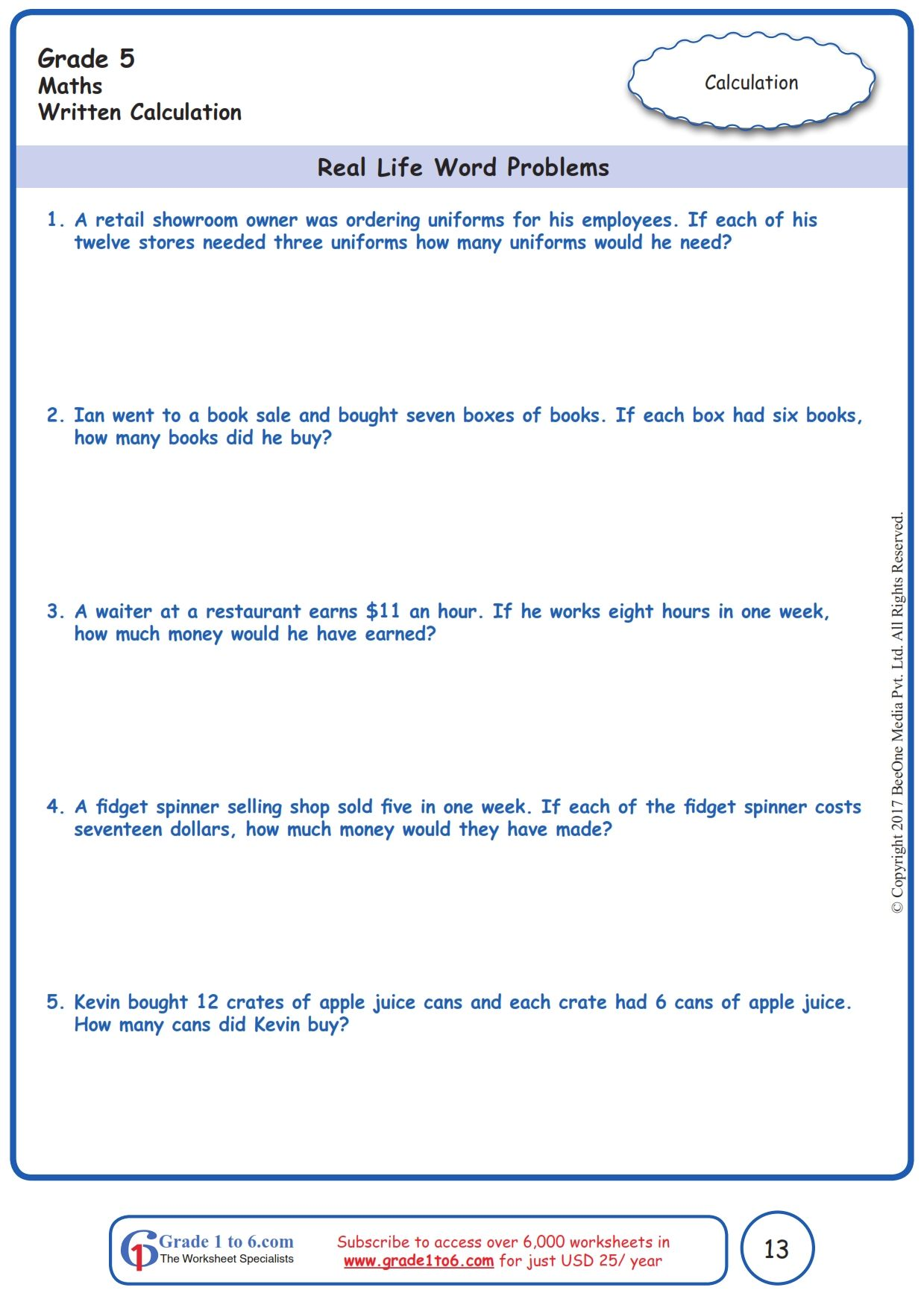 Worksheet Grade 5 Math Real Life Word Problems   Basic math worksheets [ 1754 x 1239 Pixel ]