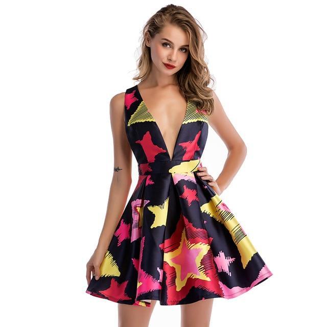 e10cf0871685c AOTEMAN Summer Dress Women 2018 Sexy Mature Style A-line Deep V Mini ...