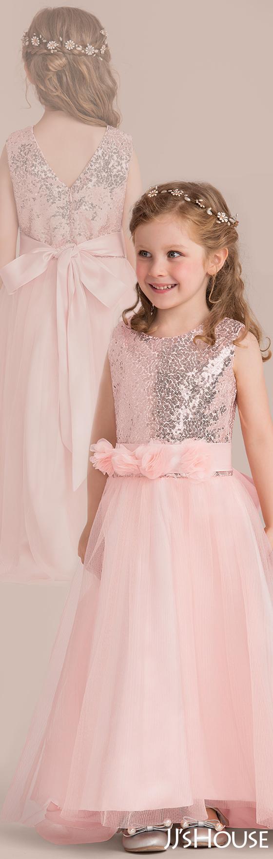 A-Line/Princess Floor-length Flower Girl Dress - Tulle/Sequined ...