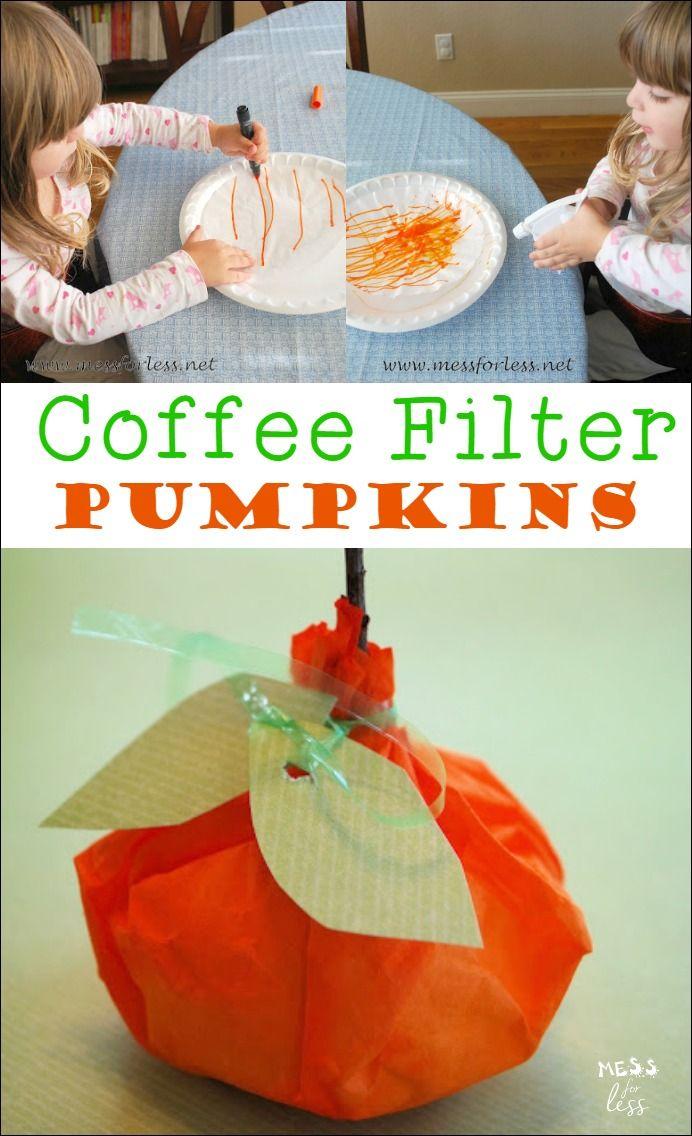 Coffee Filter Pumpkins | Autumn activities for kids, Craft ...