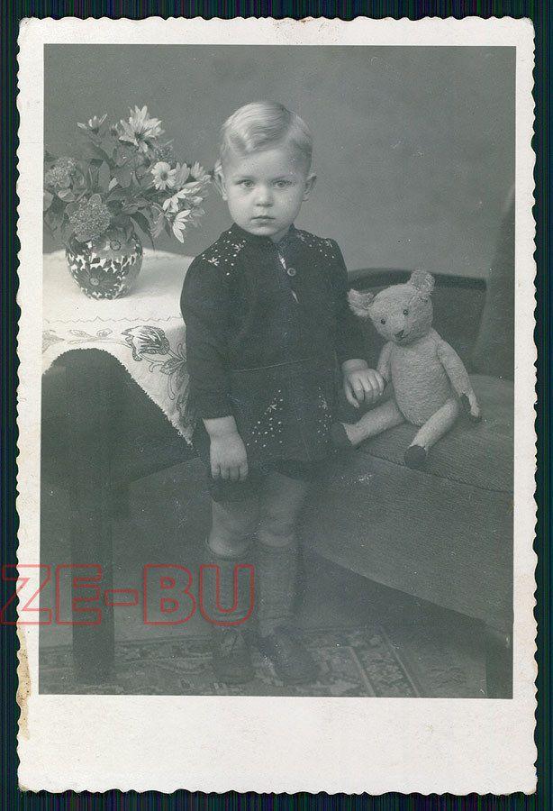 vintage photo SWEET LITTLE BOY W/ NICE TEDDY BEAR 1940s