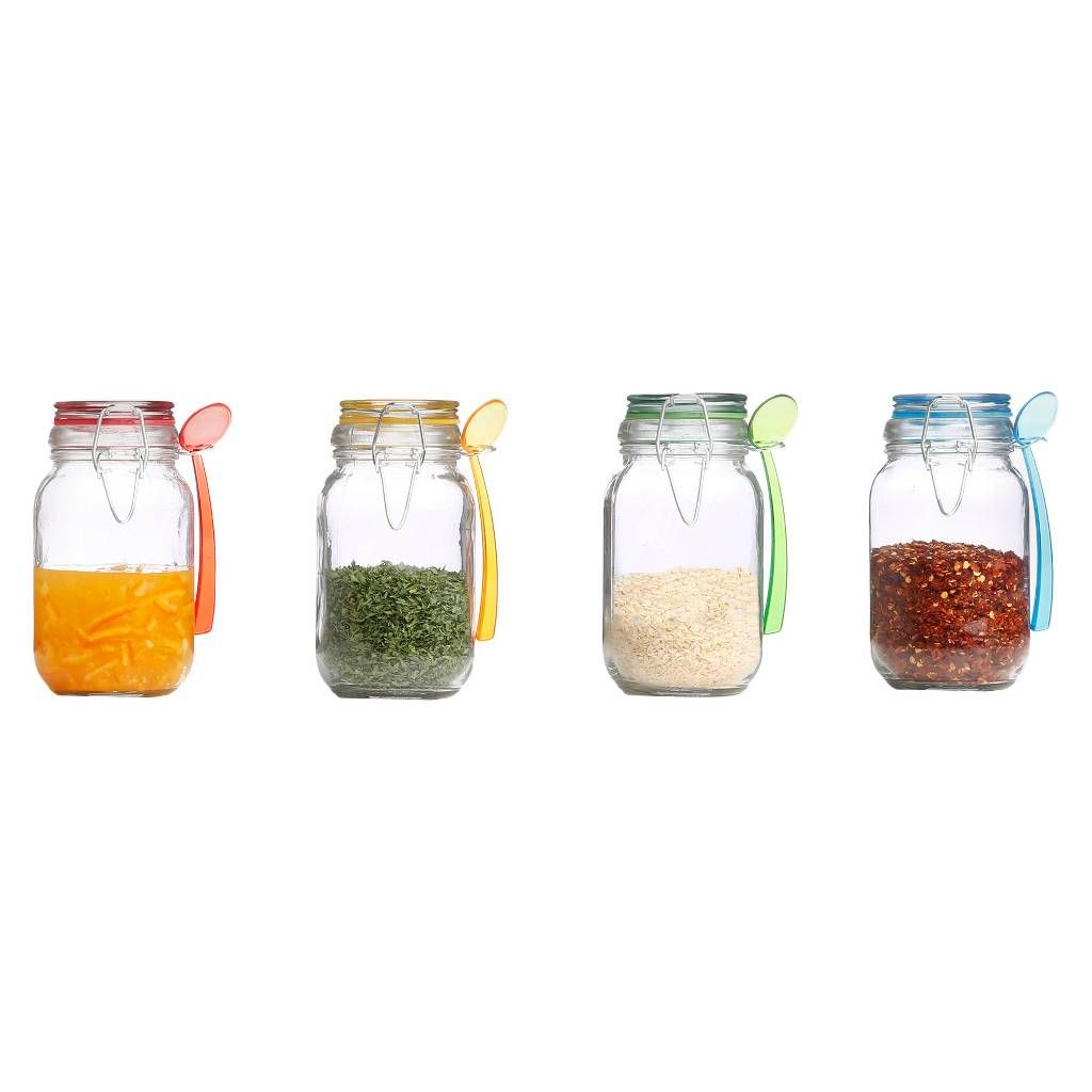 Kinetic Gogreen Glass Mini Jar 4Piece Set With Jewel Colored Lid Extraordinary Kitchen Jar Set Inspiration