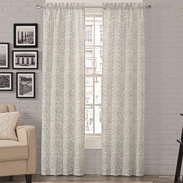 Livio Damask Light Filtering Rod Pocket Curtain Panels