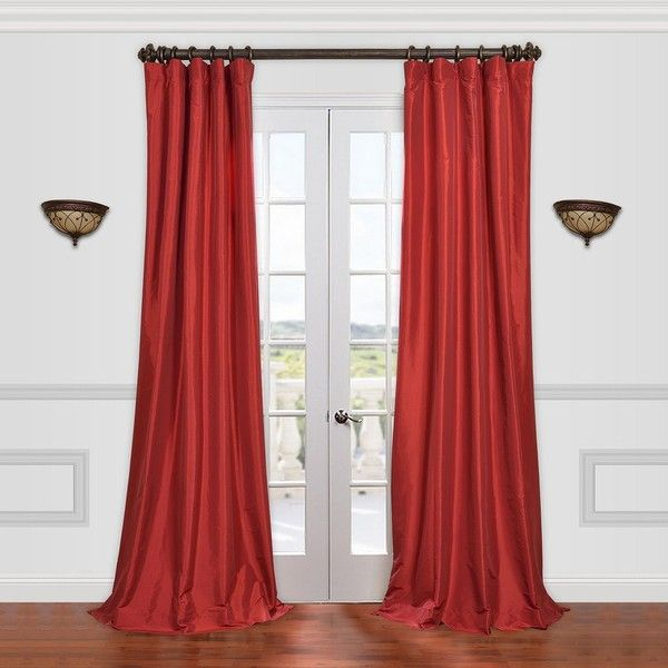 EFF Solid Faux Silk Taffeta Curtain 142 Liked On Polyvore Featuring Home Decor Window Treatments Curtains Med Red Bright