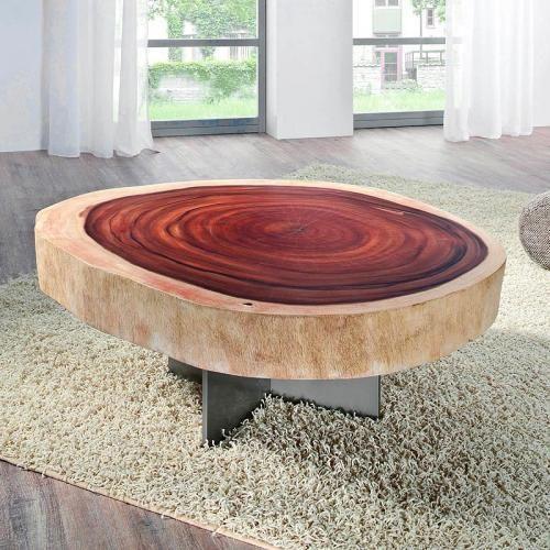 Details Zu Couchtisch Aus Massiver Akazien Baumscheibe Beistelltisch Loungetisch Wohnzimmer