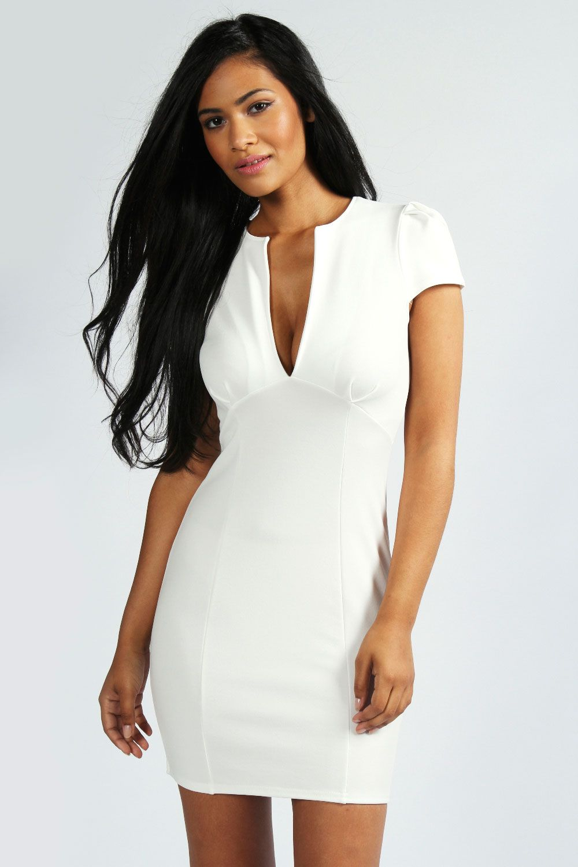 Billie V Neck Cap Sleeve Bodycon Dress at