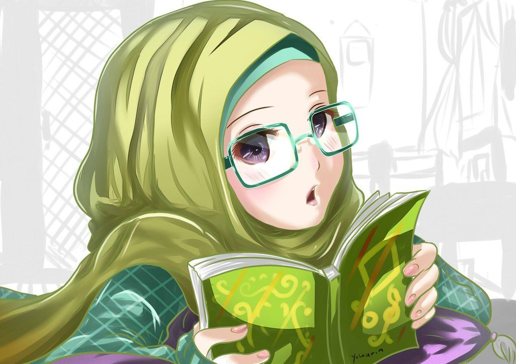 jilbab anime style glasses girl by yukarinhime on