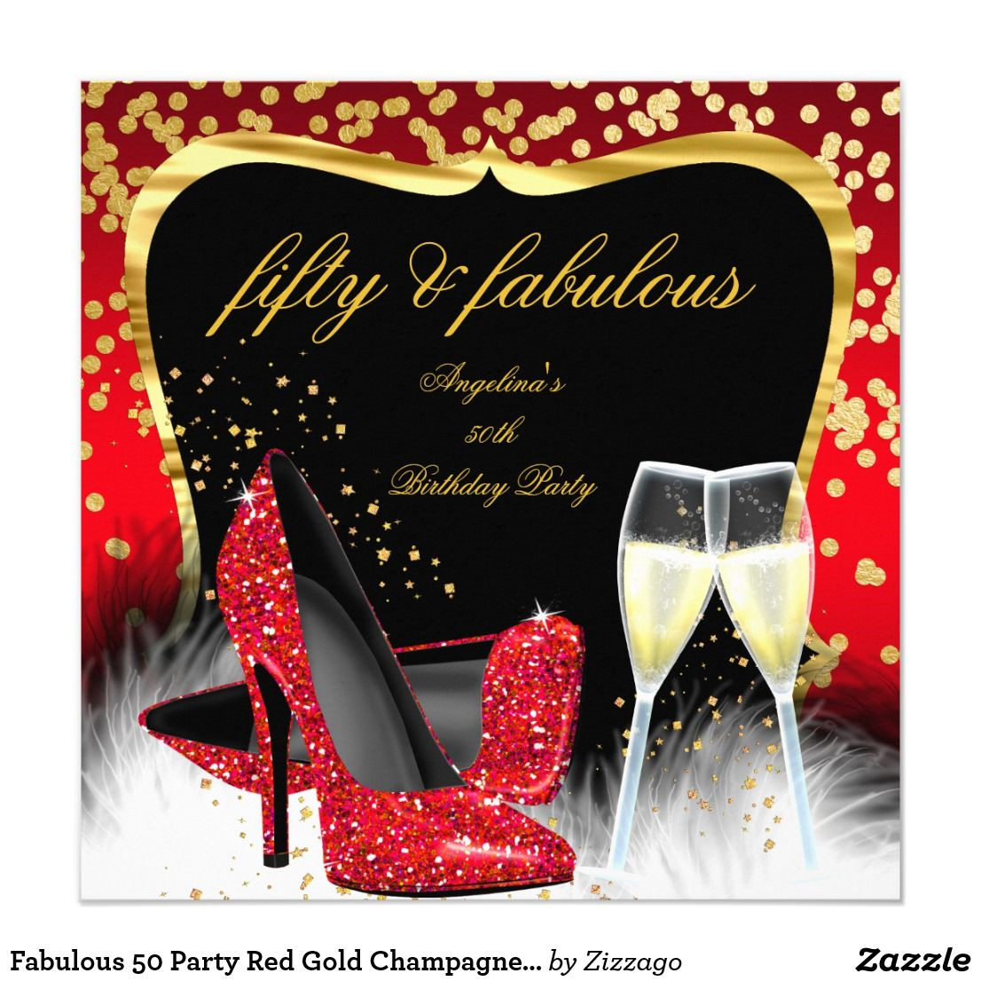 Fabulous 50 Party Red Gold Champagne Glitter Heels ...
