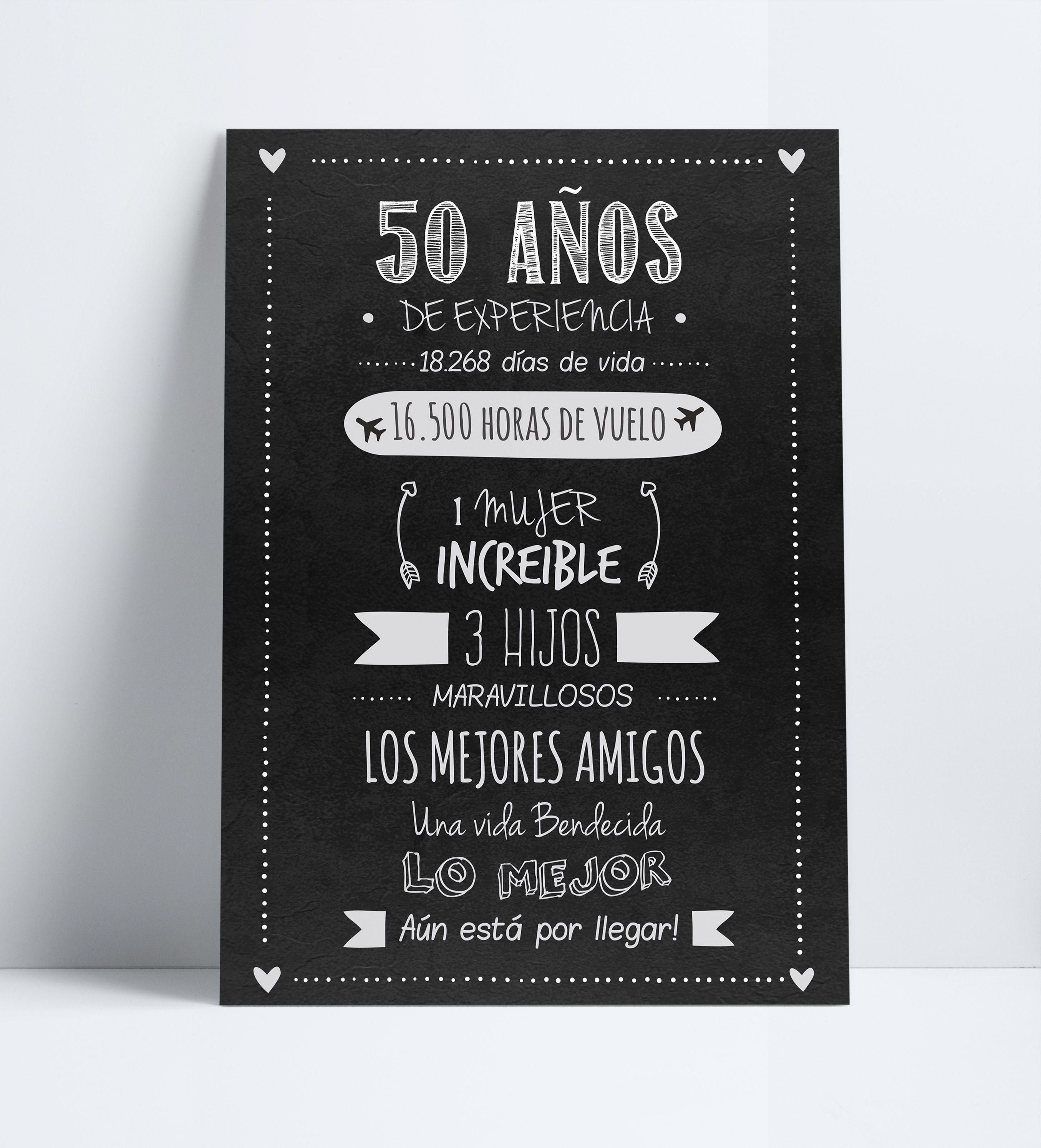 Cartel Poster Afiche Cumpleaños Adultos 50 Años