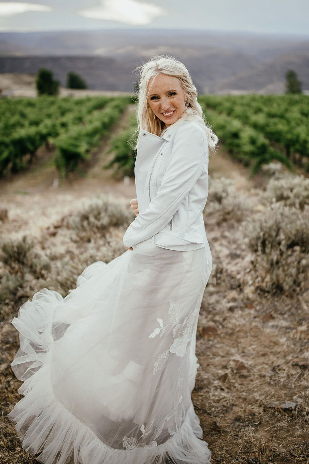 Dare Not To Bare Brides In Leather Jackets One Fab Day Leather Jacket Wedding Short Wedding Dress Boho Gown [ 1500 x 1000 Pixel ]