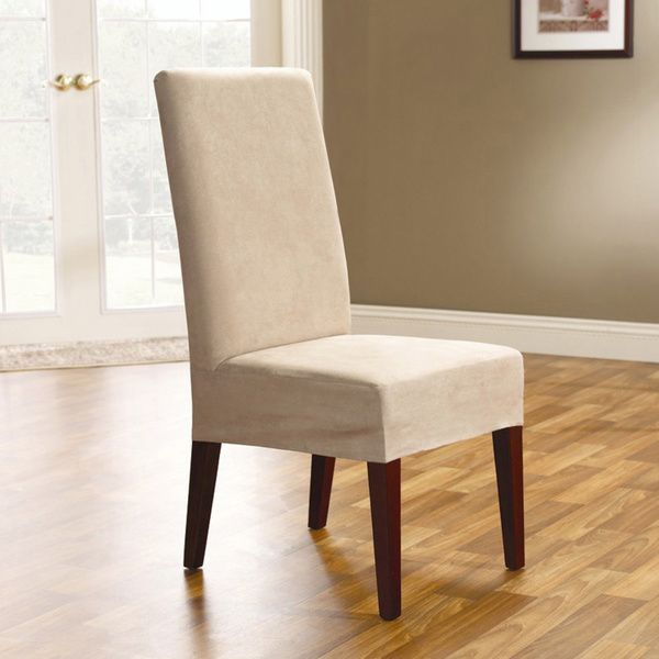 Add Protection And Style To Your Dining Room With These Sure Fit Smooth Suede Chair Covers