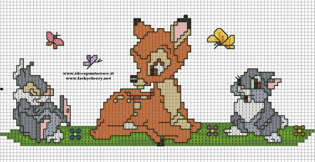 Bambi disney punto croce cross stitch by syra1974 for Schemi gratis punto croce disney