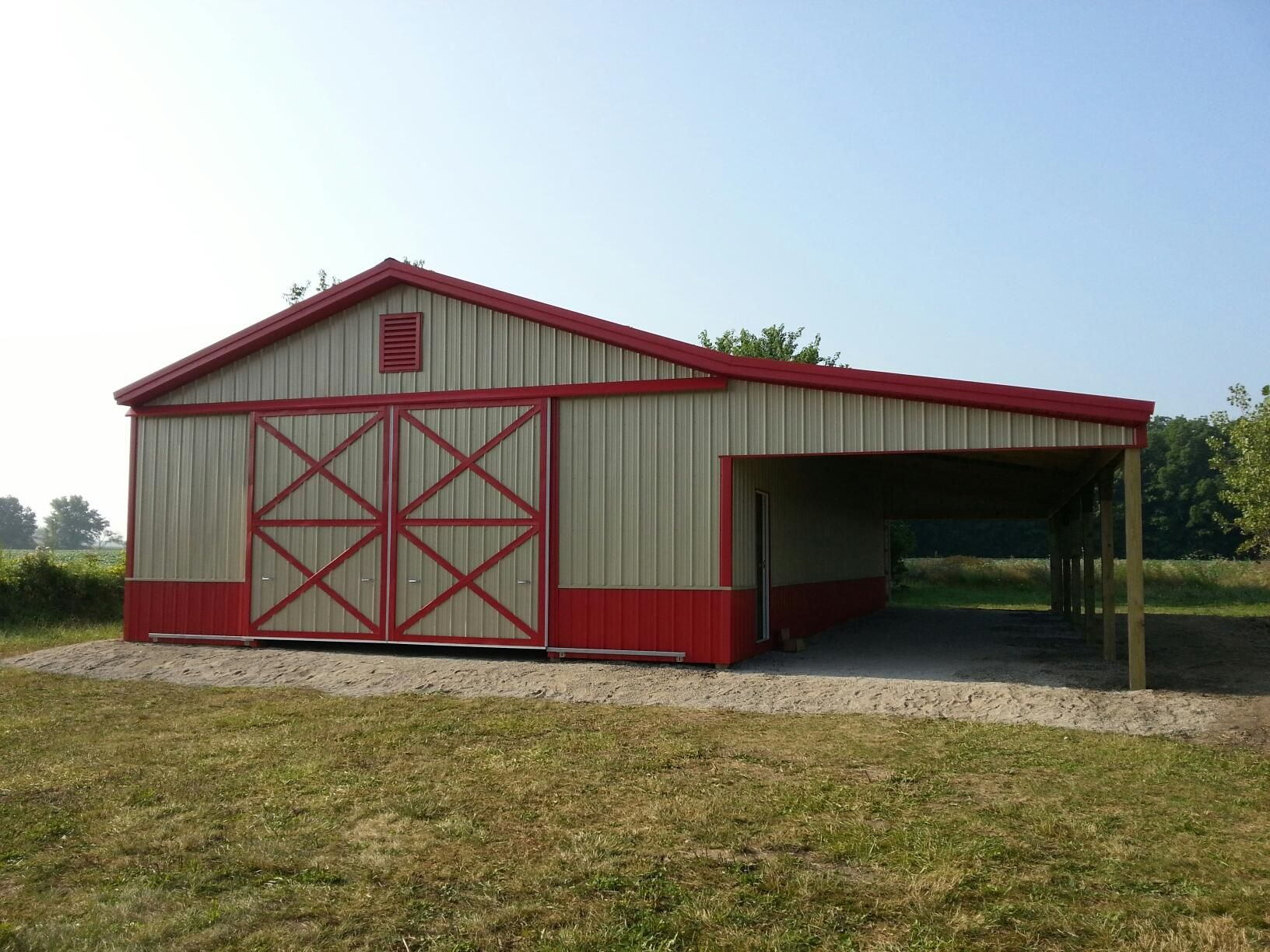 30x60x12 with 15x60 shed pole barn for Horse pole barn