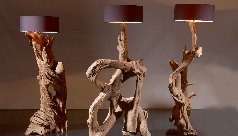 Standlampe Teak Wurzelholz Riaz Inkl Lampenschirm Stehlampe