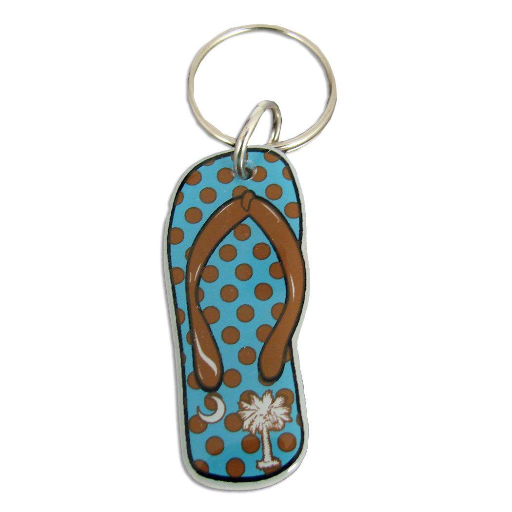 Palmetto Blue and Brown Polka Dot Flip Flop Key Chain