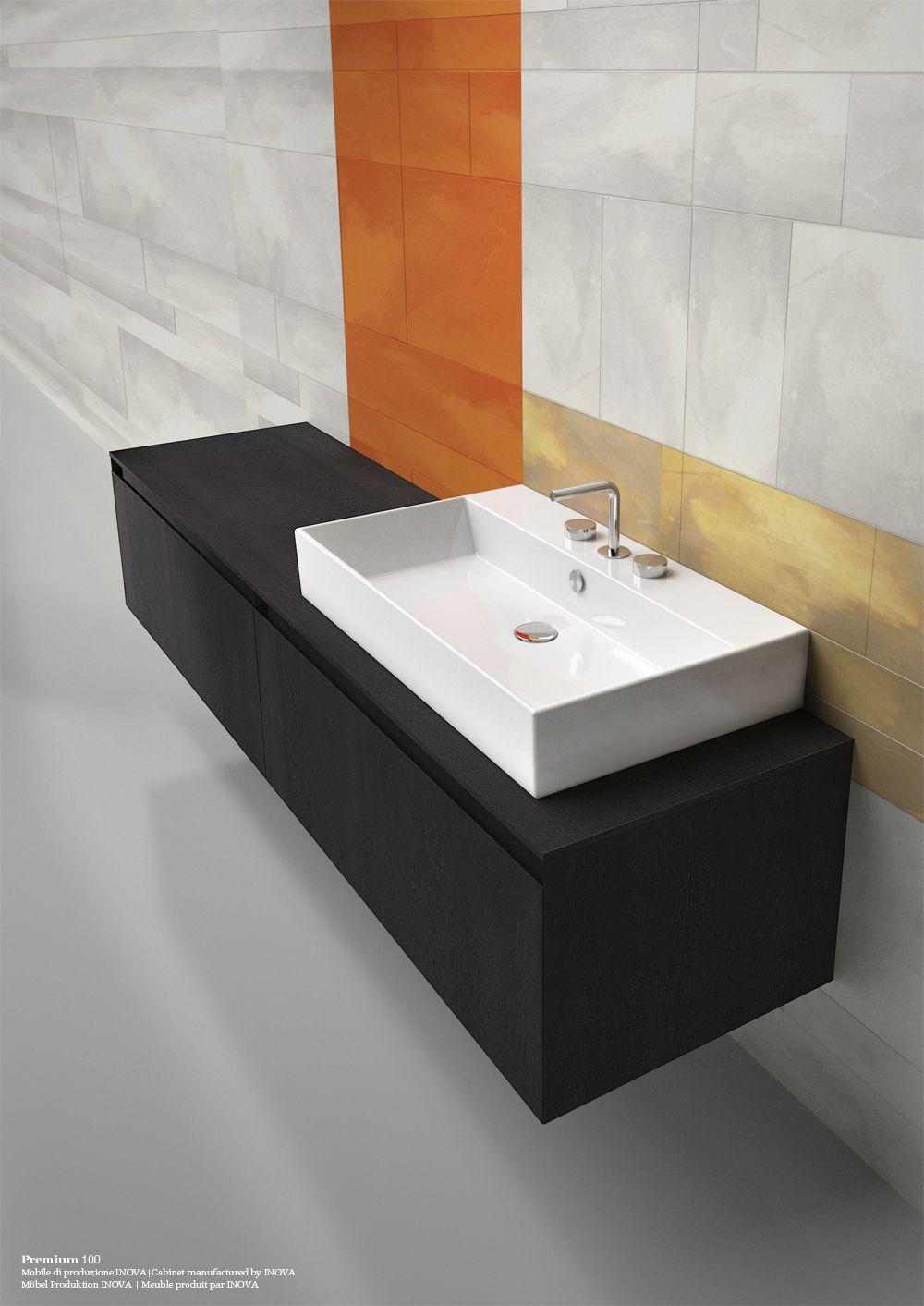 Premium 80_Washbasin with 0, 1 or 3 tapholes. Suitable for wall-hung ...
