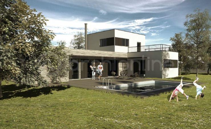 Maison Lounge - Plan de maison Moderne par Archionline Casas - facade de maison moderne
