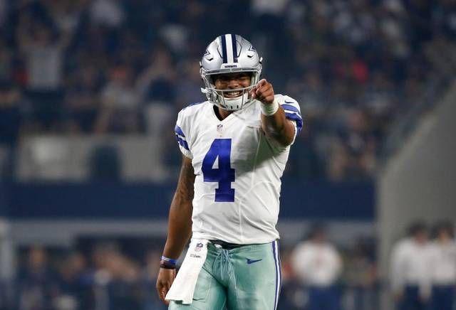 Dallas Cowboys Quarterback Dak Prescott 4 Celebrates After Throwing A Pass To Dallas Cowboys Cole Beasle Dak Prescott Cowboys Players Dallas Cowboys Players