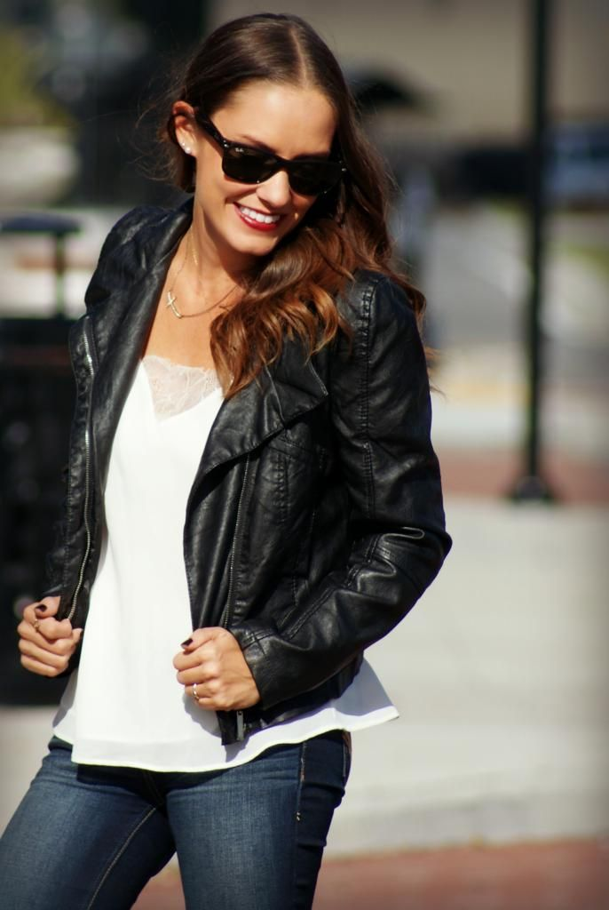 leather jacket  and lace