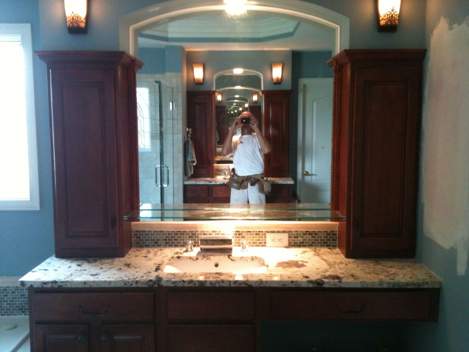 Bathroom, Spectacular Bathroom Vanities With Tops And Floating Drugs Cabinet  Also Fixture Wall Lights Also Mirror Design Ideas: Wonderful B.