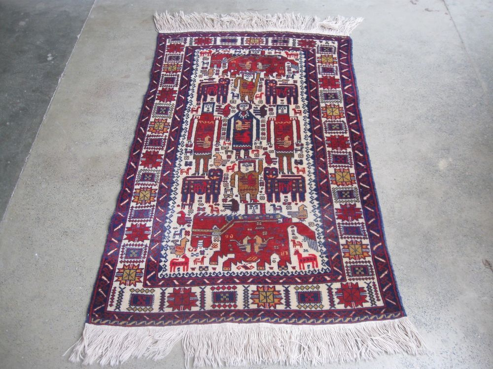 Nomadic Afghan Vintage Baluchi Rug Hand Knotted Pictorial Baluch In Antiques Rugs