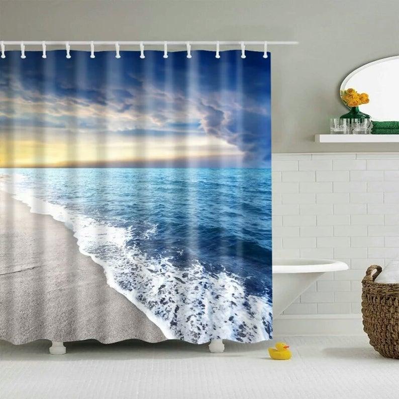 Waterproof Fabric Shower Curtain For Bathroom Printing Summer Beach Style Custom Shower Curtain 180cm 180cm In 2020 Beach Shower Curtains Fabric Shower Curtains Custom Shower Curtains