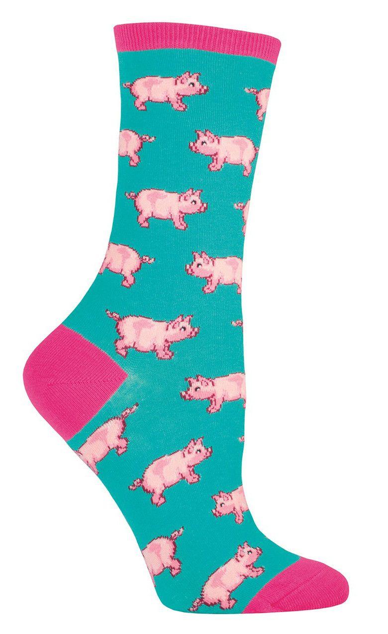 Socksmith Womens Fashion Novelty Crew Socks This Little Piggy Pig Jade Green New