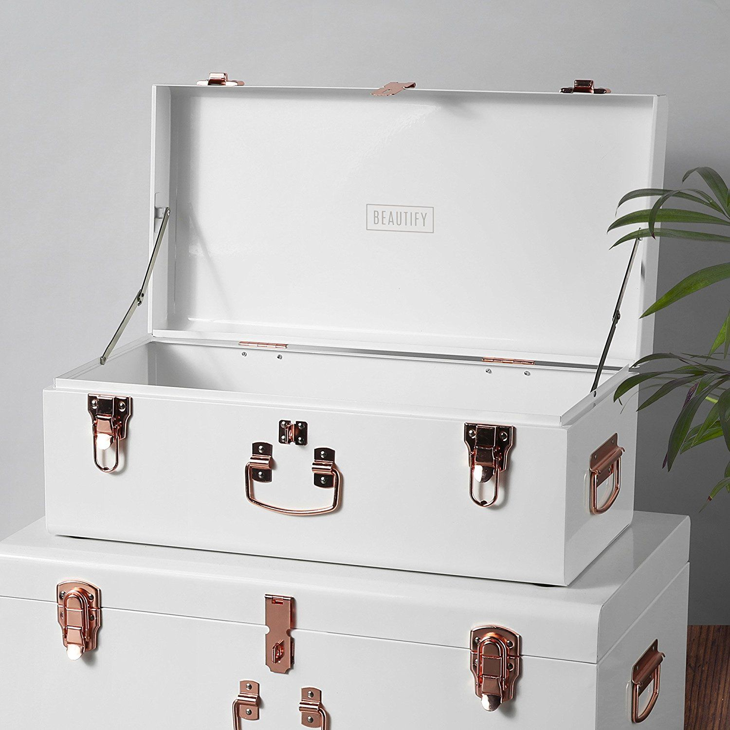 Beautify Trunks Storage Suitcase Bedroom Vintage-Style Steel Set