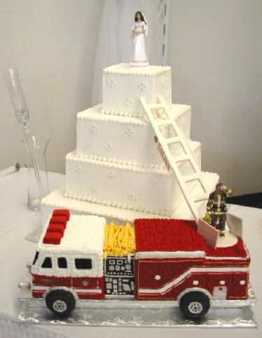 fire truck wedding cake toppers firefighter wedding cakes on firefighter 14279