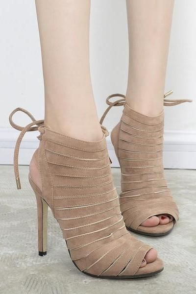 6a237ea82f5b3 Ankle Strap Suede Stiletto Heel Peep-toe HIgh Sandals in 2019 | High ...
